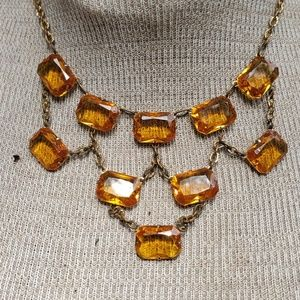Vintage citrine crystal necklace